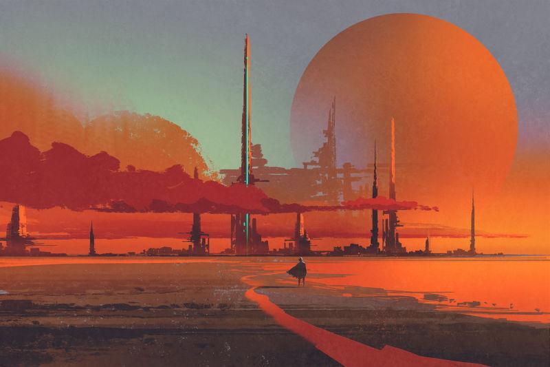 沙漠中的科幻建筑
