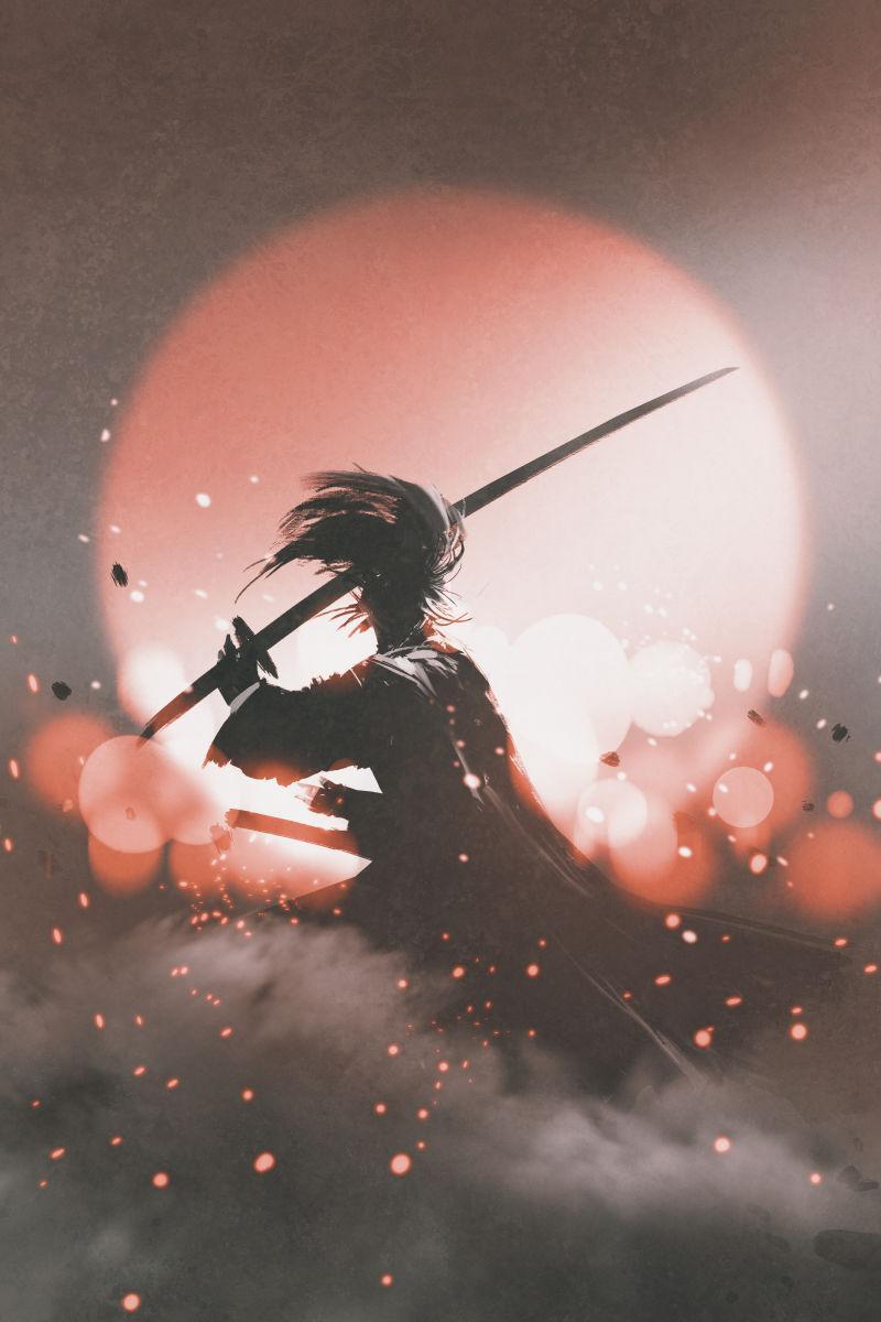 日落背景下的武士宝剑