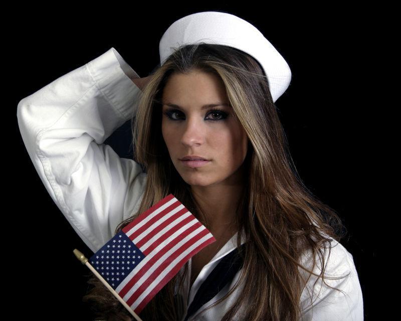 穿着水手服的漂亮模特
