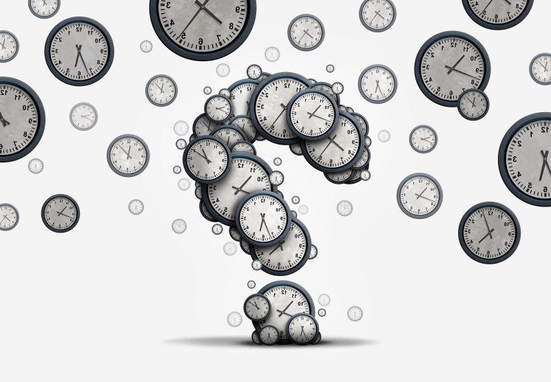 白色背景上飞舞的钟表带来的时间问题概念