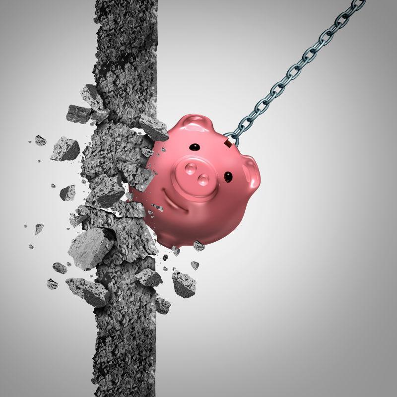 灰色背景上的强大的财务概念带来的力量