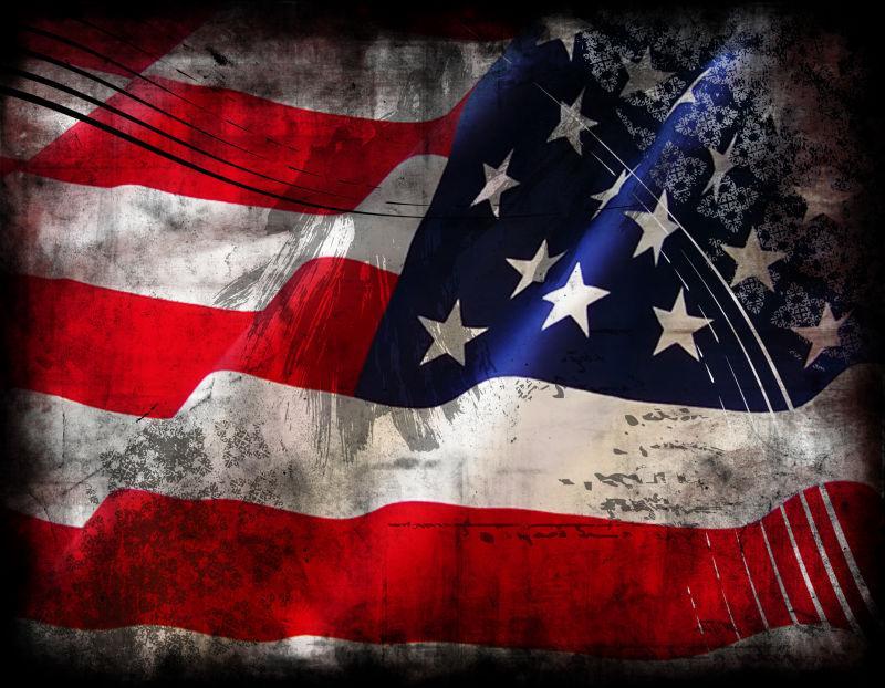 有污渍的美国国旗