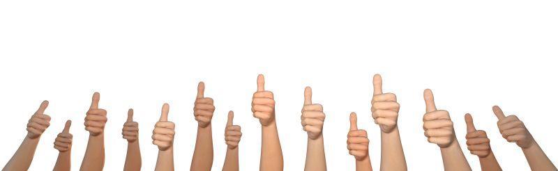 很多手竖起大拇指