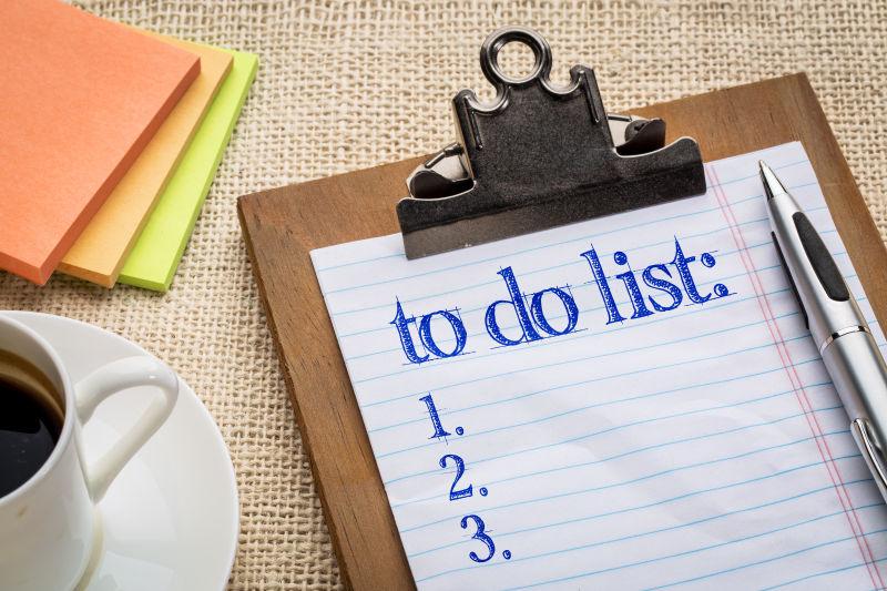 在剪贴板和咖啡上做便签列表