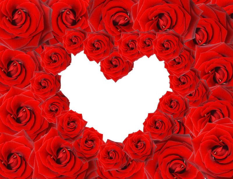 情人节玫瑰花摆成爱心