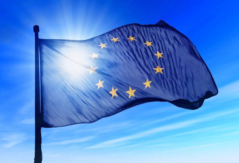 欧盟旗帜在风中飘扬