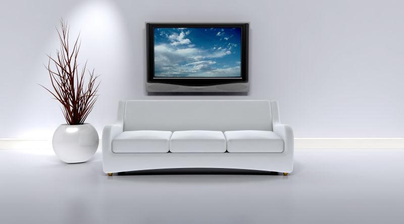现代化室内的白色沙发