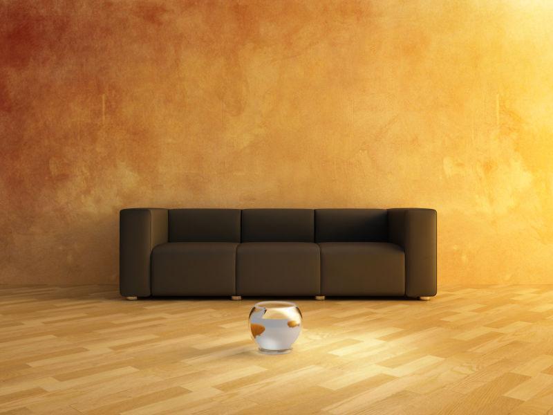 黄色空间里的黑色沙发
