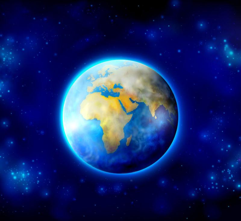 蓝色背景下的地球