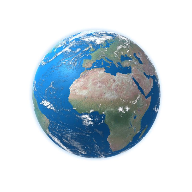 地球模型上的大陆板块与海洋