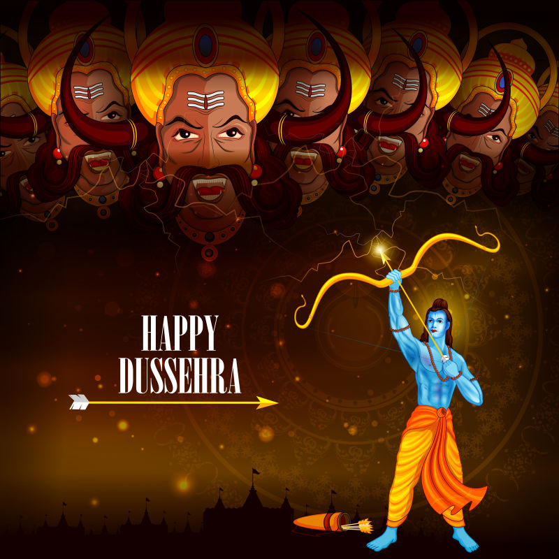 创意矢量印度传统节日的插图