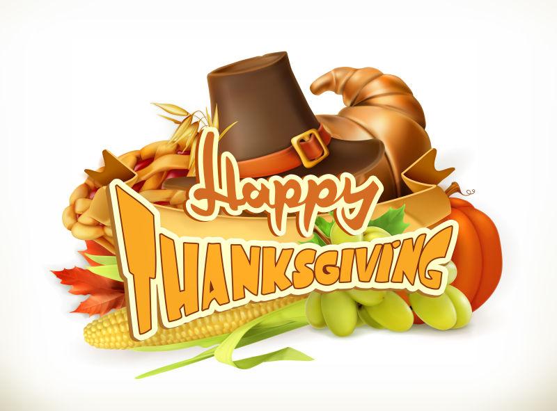 感恩节祝福标语矢量设计