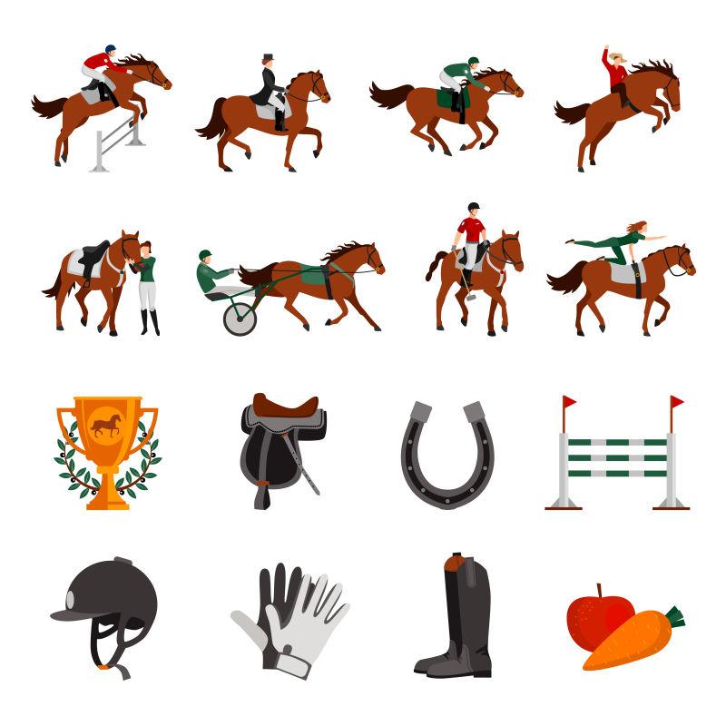 赛马运动的矢量插图设计