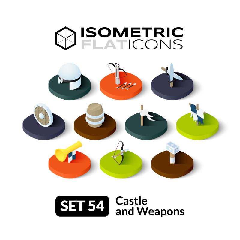 矢量的立体城堡和武器图标