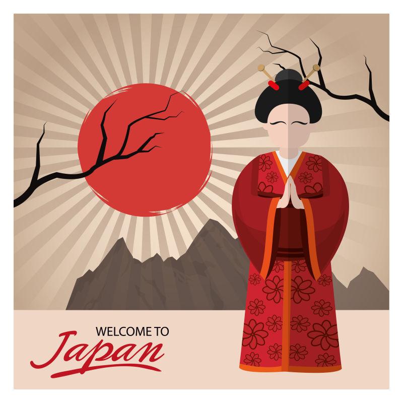 矢量的日本主题插图设计