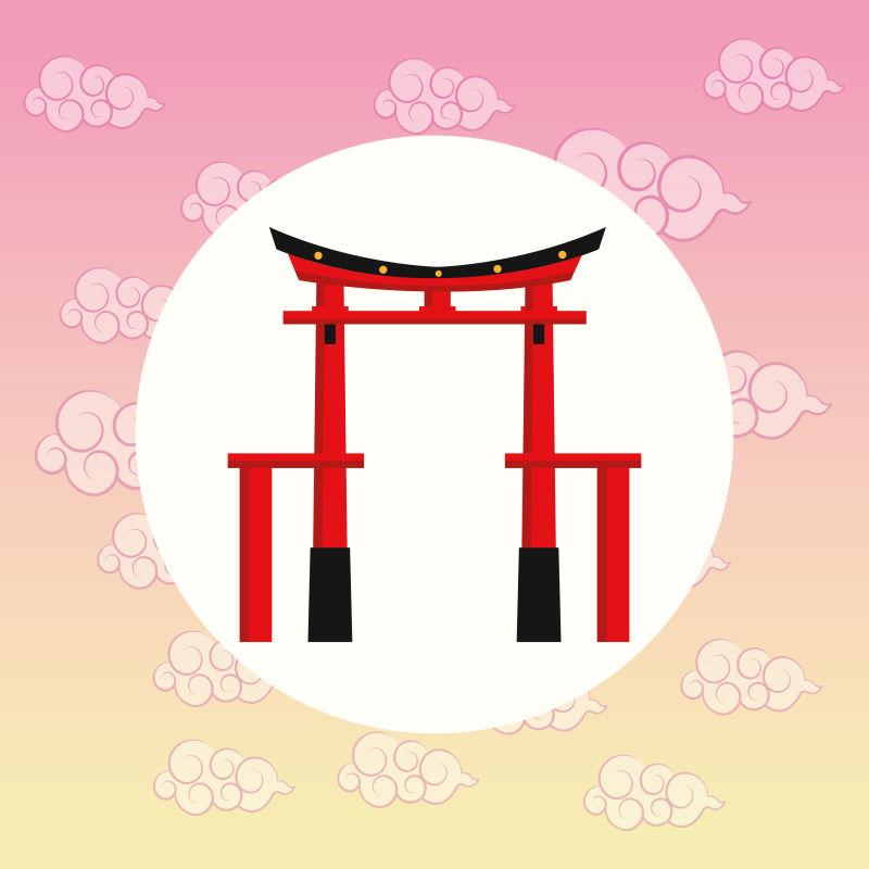日本拱门矢量插图
