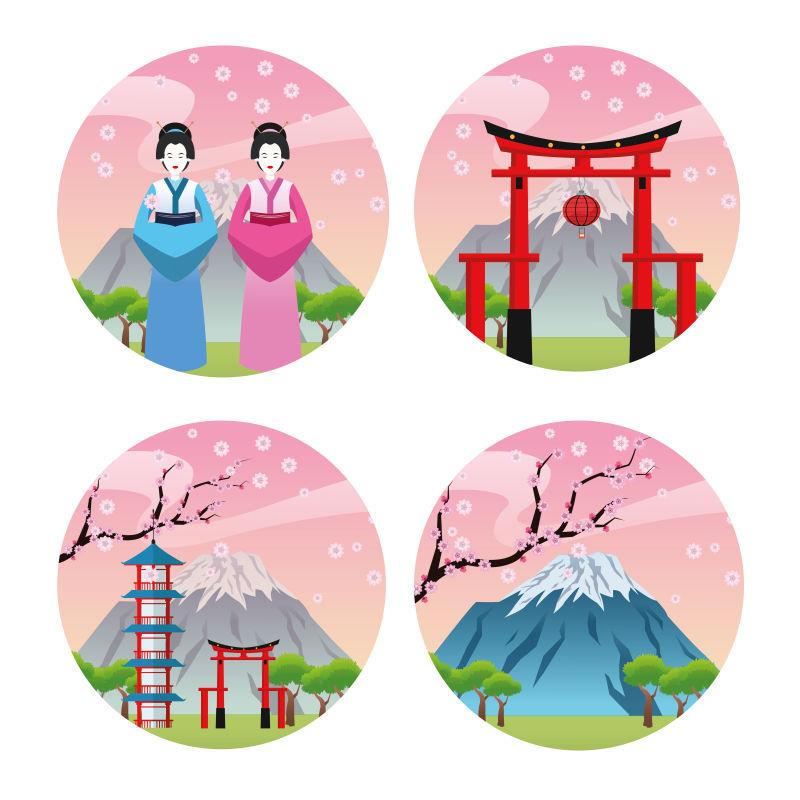 矢量的日本文化插图设计