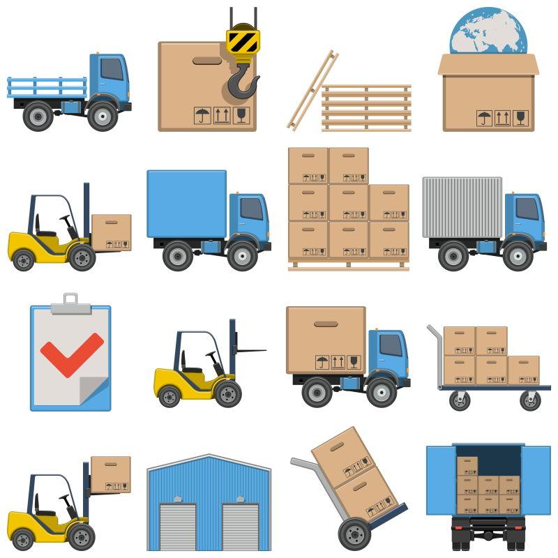 创意矢量货运流程概念的创意插图