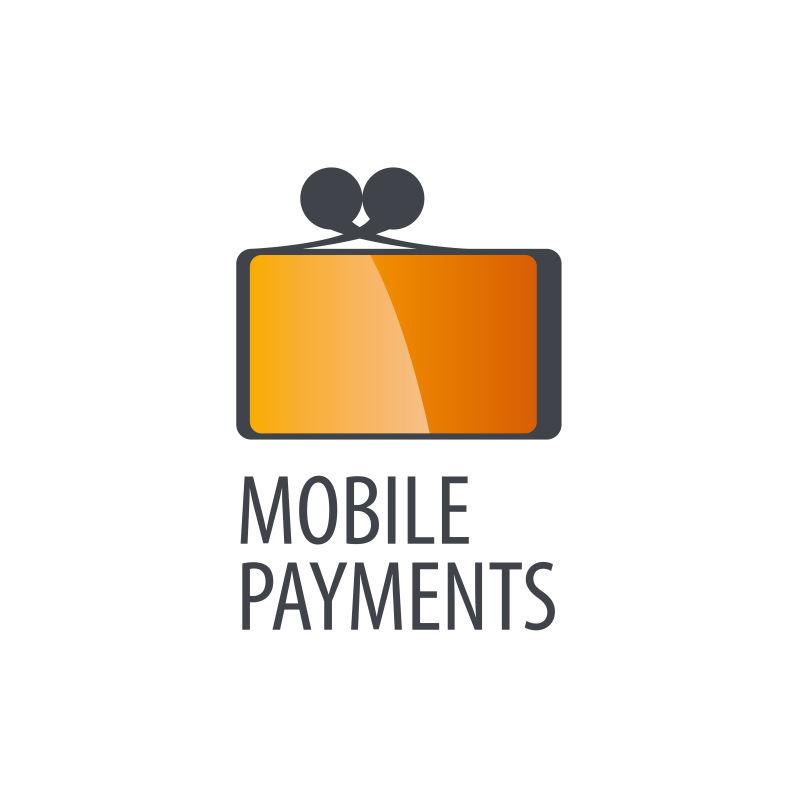创意手机支付概念的矢量标志