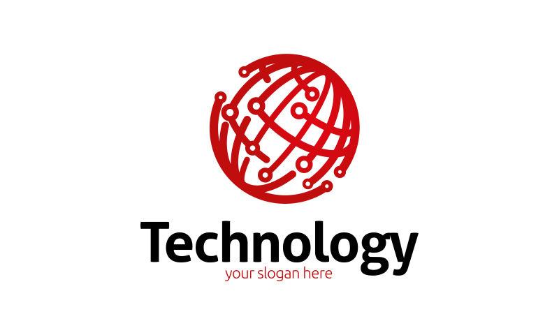 创意矢量全球技术概念的标志设计