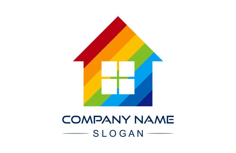 矢量彩色房子标志设计