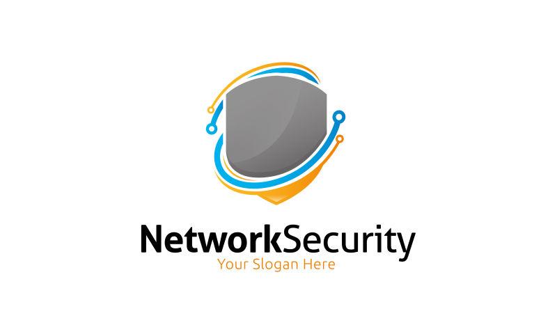 抽象网络安全的矢量标志设计