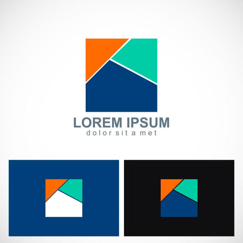 抽象矢量三色几何风格的标志设计