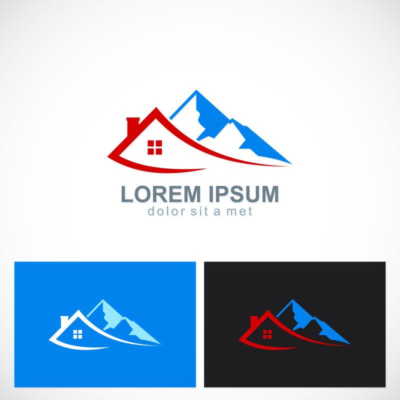 抽象彩色户外的住宅概念的矢量标志设计