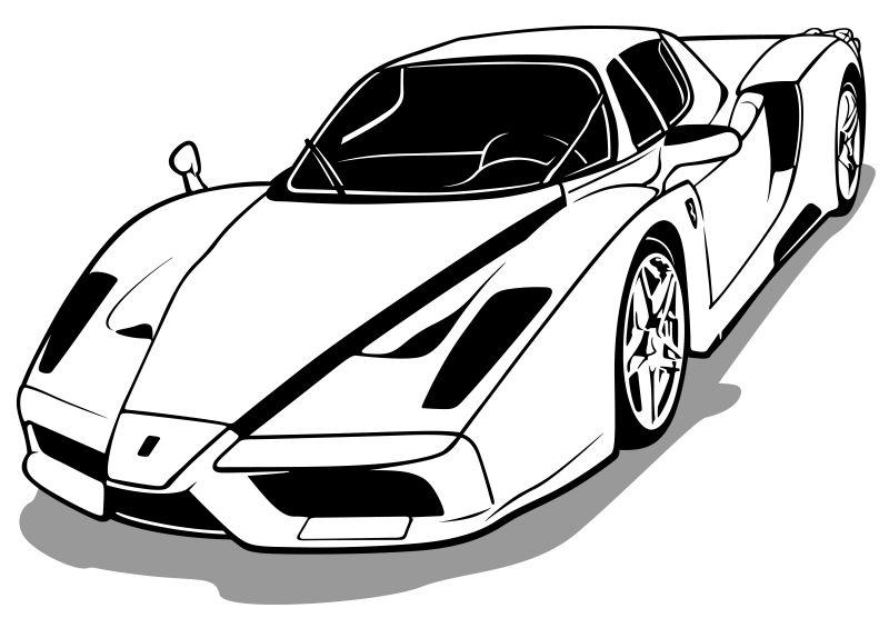 创意的白色跑车矢量插图