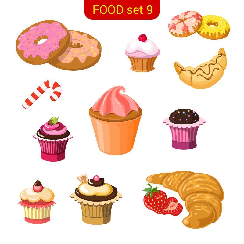 矢量的甜品插图设计