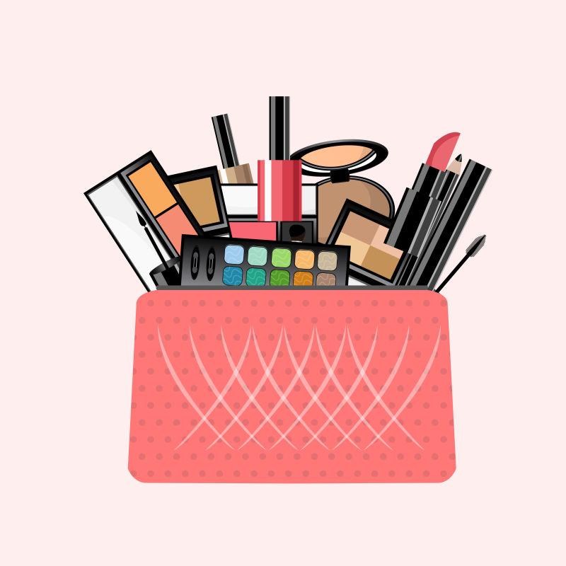 矢量装满化妆品的粉色化妆品插图