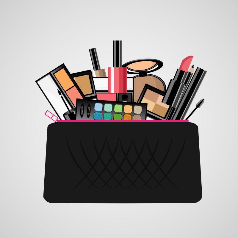 创意矢量化妆包里的化妆品插图