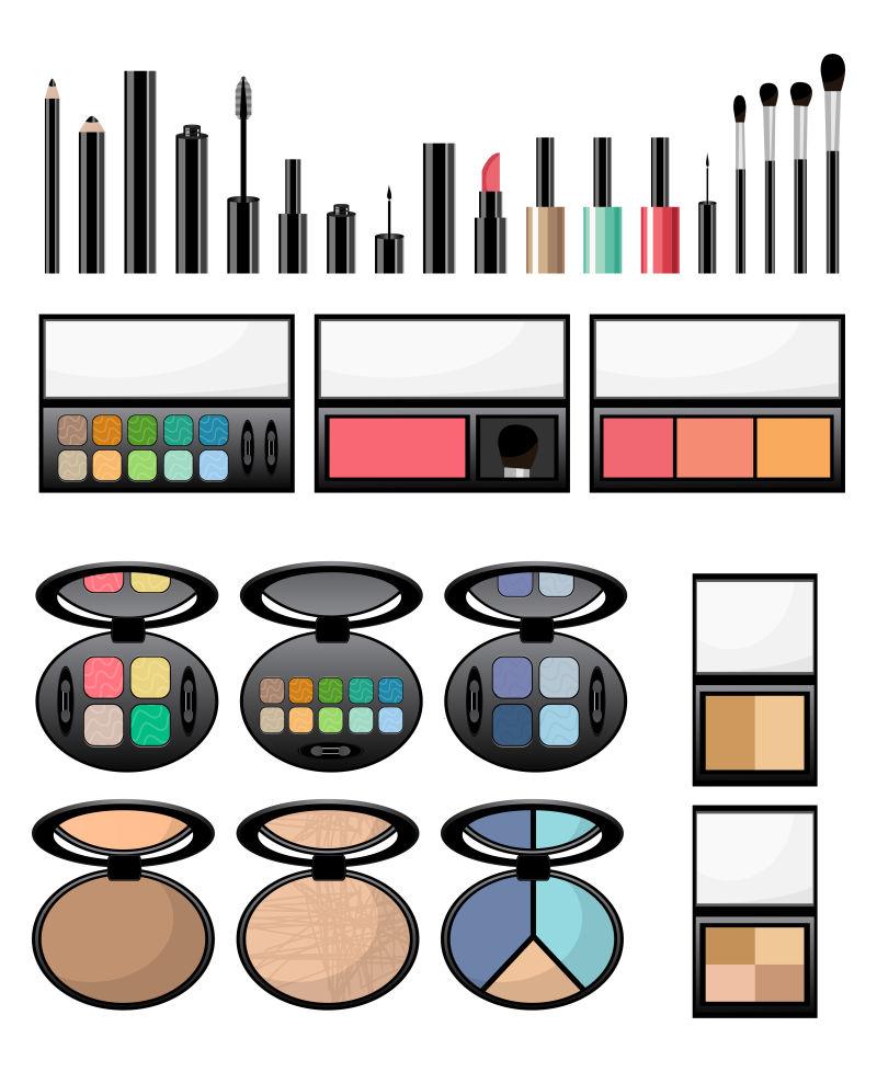 矢量化妆品的平面插图