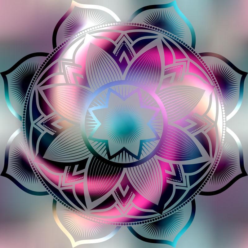 炫酷的曼陀罗花卉图案矢量设计