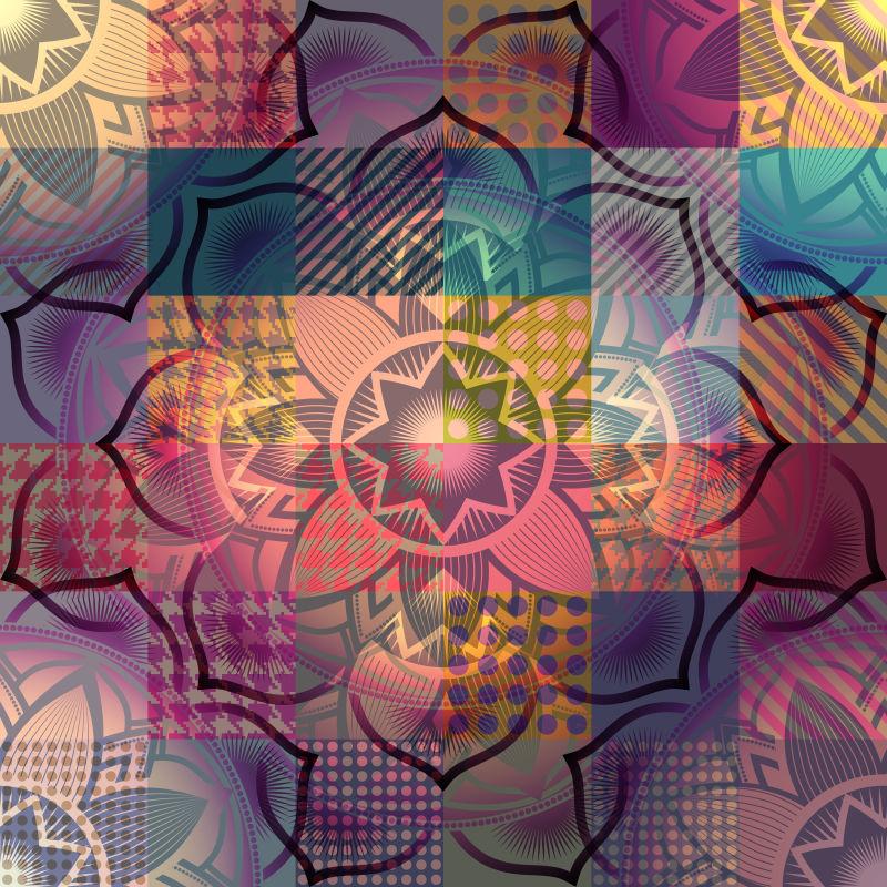 曼陀罗复古花卉图案矢量设计