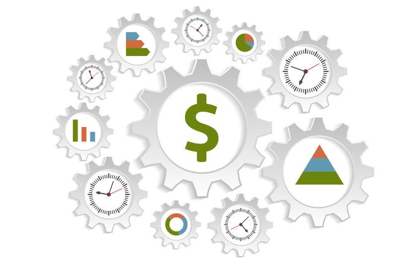 抽象齿轮元素的矢量营销时间概念插图