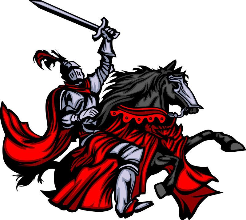 矢量英勇的骑士插图设计
