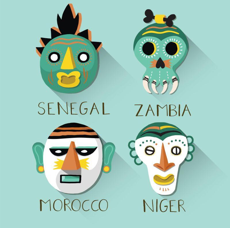 矢量非洲面具集