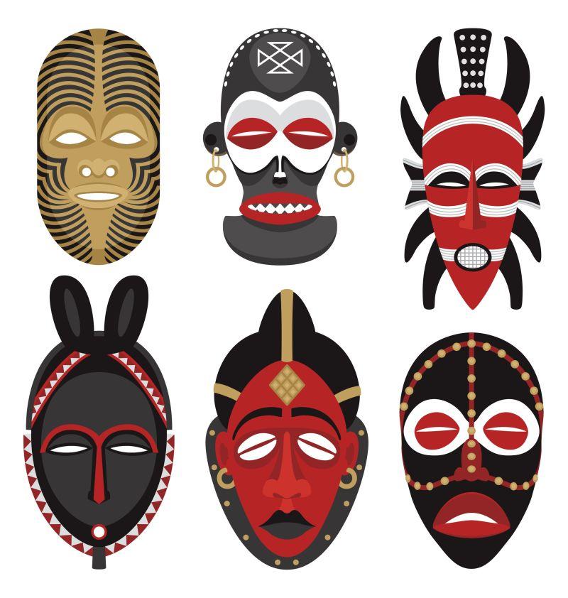 矢量的非洲面具