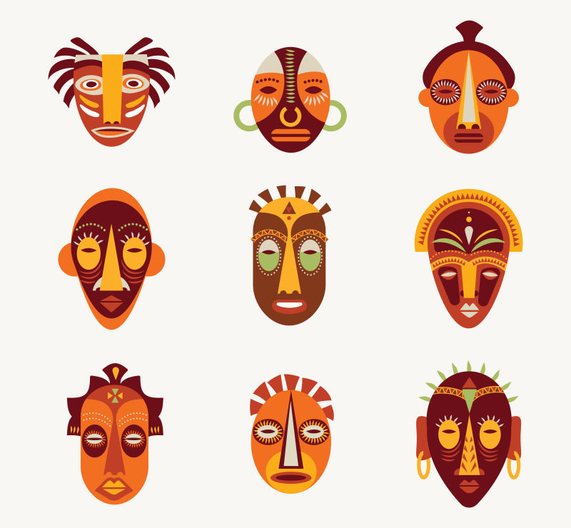 矢量非洲面具