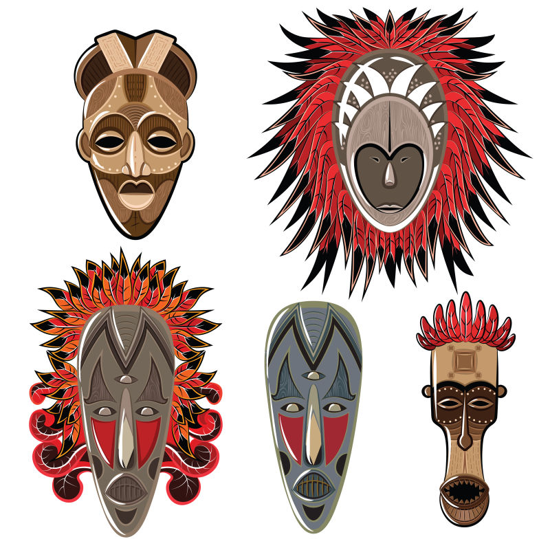 白色背景上矢量非洲面具