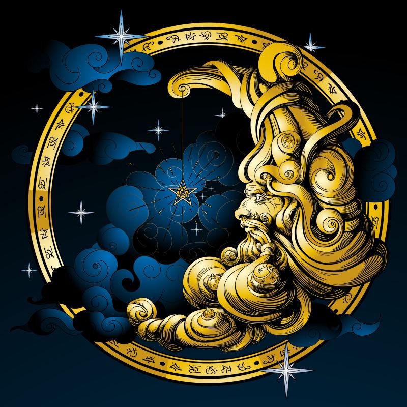 矢量的金色圆环雕像插图