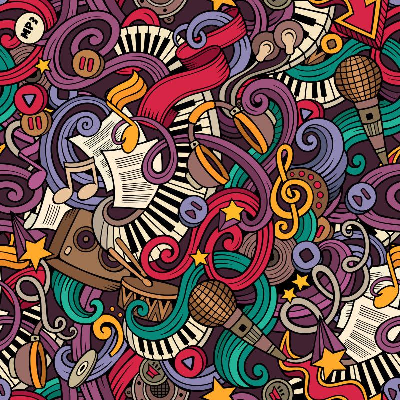 手绘涂鸦音乐插图矢量设计