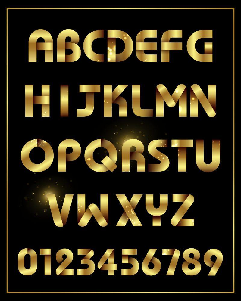 金色发光字母矢量设计
