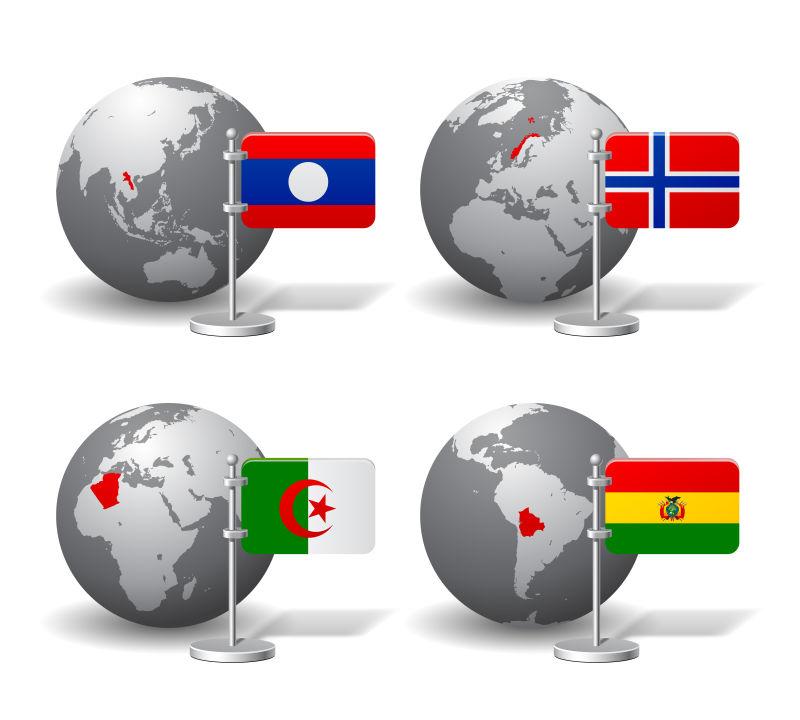 灰色地球模型和国家旗帜矢量插图