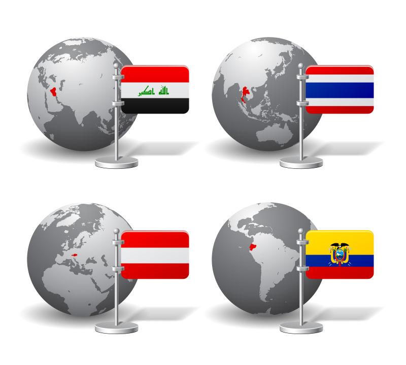 矢量的灰色地球模型和旗帜