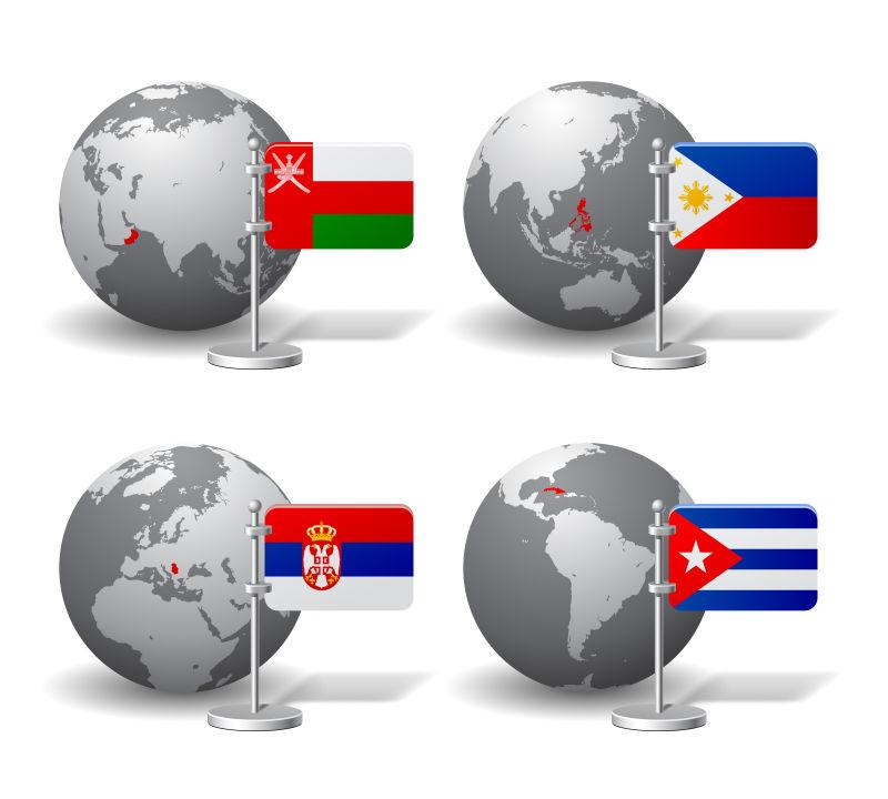 地球模型和国家旗帜矢量插图