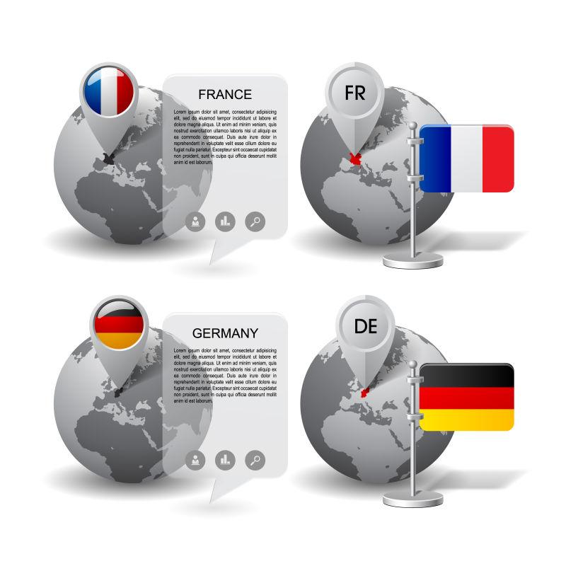 地球位置相对应的国家矢量插图