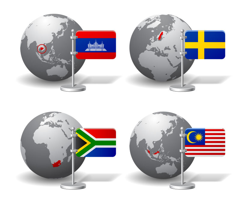 矢量的地球模型和国家旗帜插图