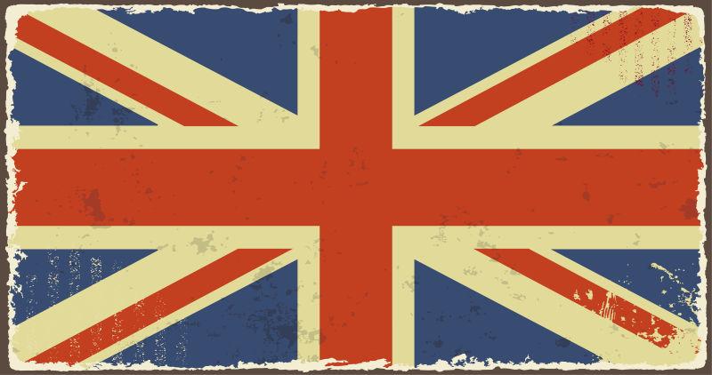 矢量做旧效果的英国国旗插图